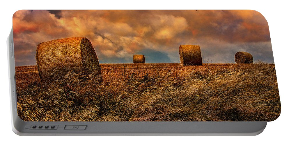 Hay Portable Battery Charger featuring the photograph The Hayfield by Chris Lord