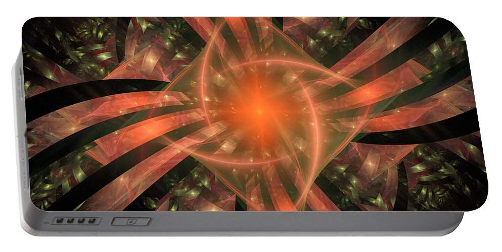 Pink Portable Battery Charger featuring the digital art The Heart Of It All by Ricky Barnard