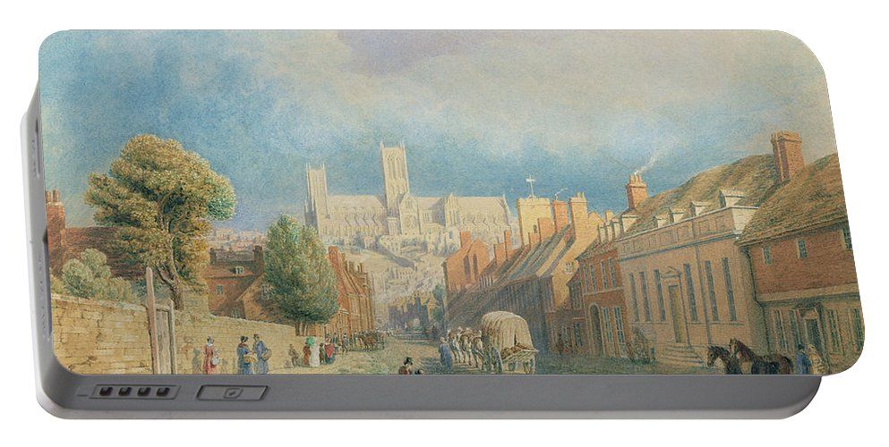 Cathedral Portable Battery Charger featuring the painting The High Street Lincoln by Thomas Kearnan