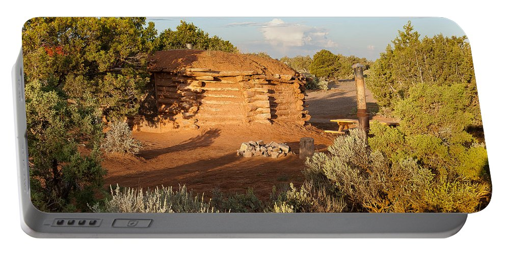 Canyon De Chelly Portable Battery Charger featuring the digital art The Hogan Where We Stayed Canyon Dechelly Nps by Bob and Nadine Johnston