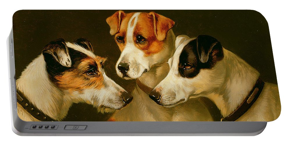 Dog Portable Battery Charger featuring the painting The Hounds by Alfred Wheeler