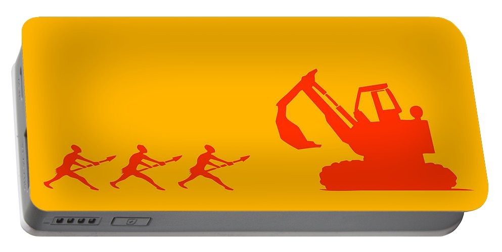 Warrior Portable Battery Charger featuring the painting The Hunters by Pixel Chimp