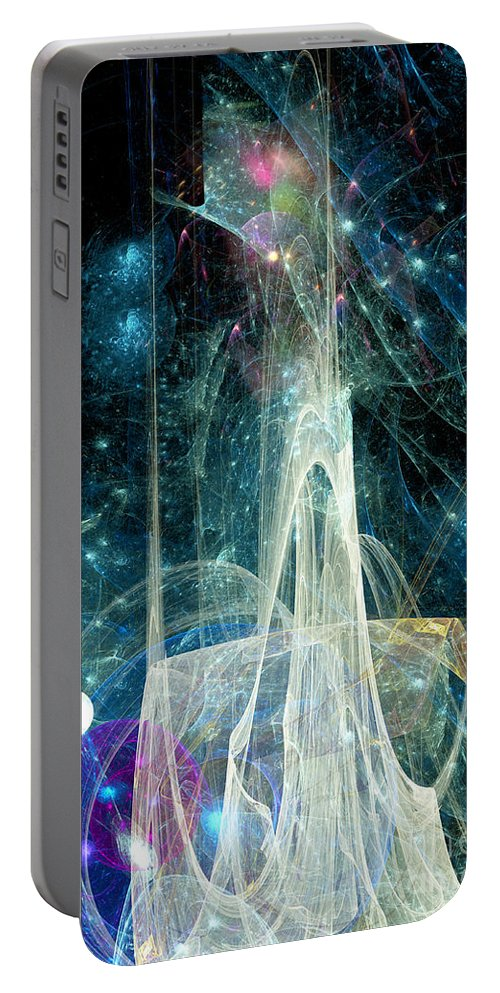 Abstract Portable Battery Charger featuring the digital art The Ice Castle 1 by Russell Kightley