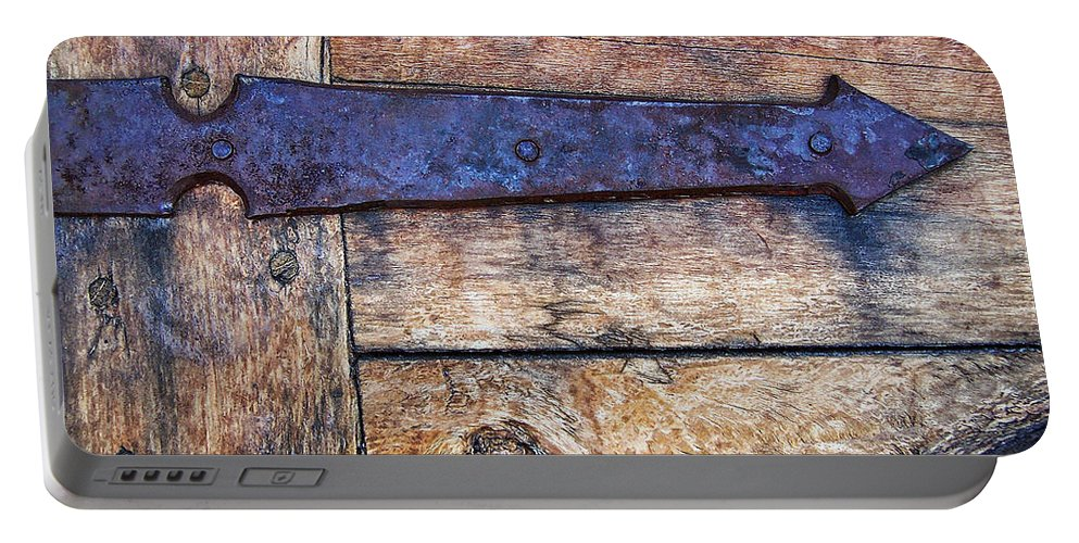 Rustic Portable Battery Charger featuring the photograph The Iron Arrow Points The Way by Kathy Clark