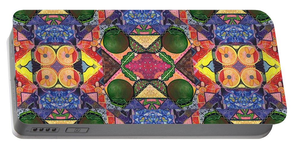 Abstract Portable Battery Charger featuring the digital art The Joy Of Design Series Arrangement Twenty Times Over by Helena Tiainen