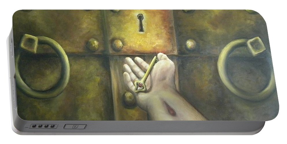 Juses Portable Battery Charger featuring the painting The Key by Beau Ettestad