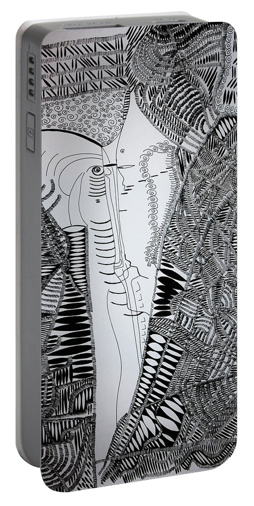 Jesus Portable Battery Charger featuring the drawing The Kiss by Gloria Ssali