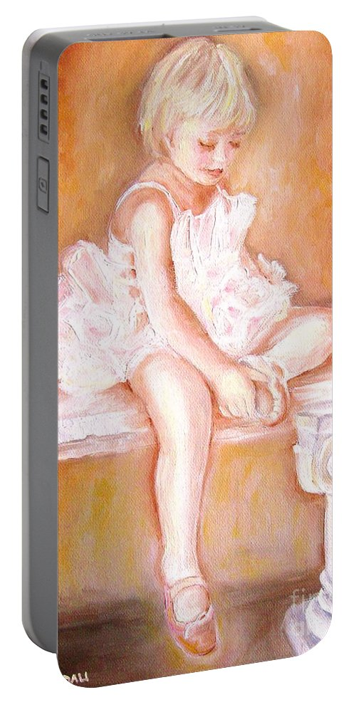 Ballerinas Portable Battery Charger featuring the painting The Little Ballerina by Carole Spandau