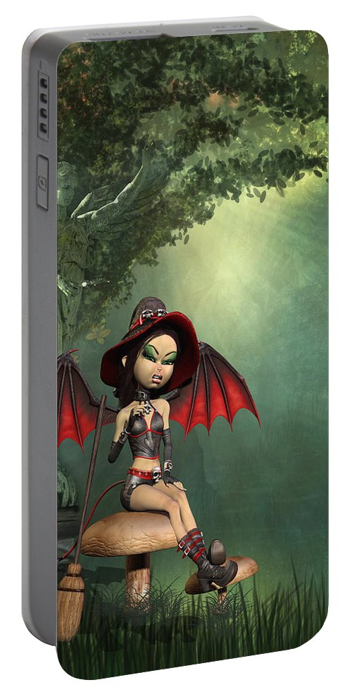 The Little Witch Portable Battery Charger featuring the digital art The Little Witch by John Junek