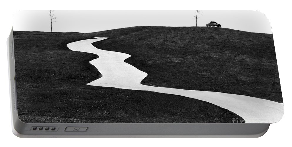 Road Portable Battery Charger featuring the photograph The Long And Winding Road Bw by Mike Nellums