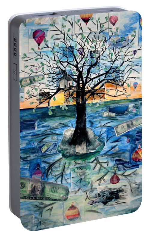 Hot Air Balloons Portable Battery Charger featuring the painting The Money Tree by Kate Fortin