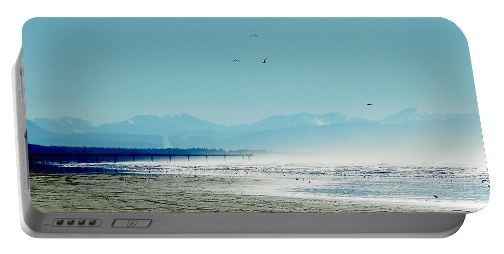Pier Portable Battery Charger featuring the photograph The Mountains And The Pier by Steve Taylor