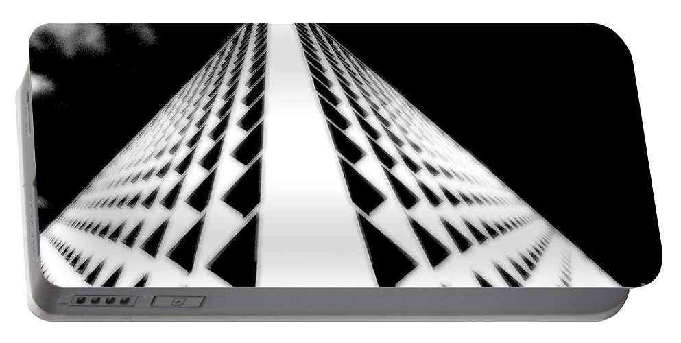 Office Portable Battery Charger featuring the photograph The Office Building Bw by Mike Nellums
