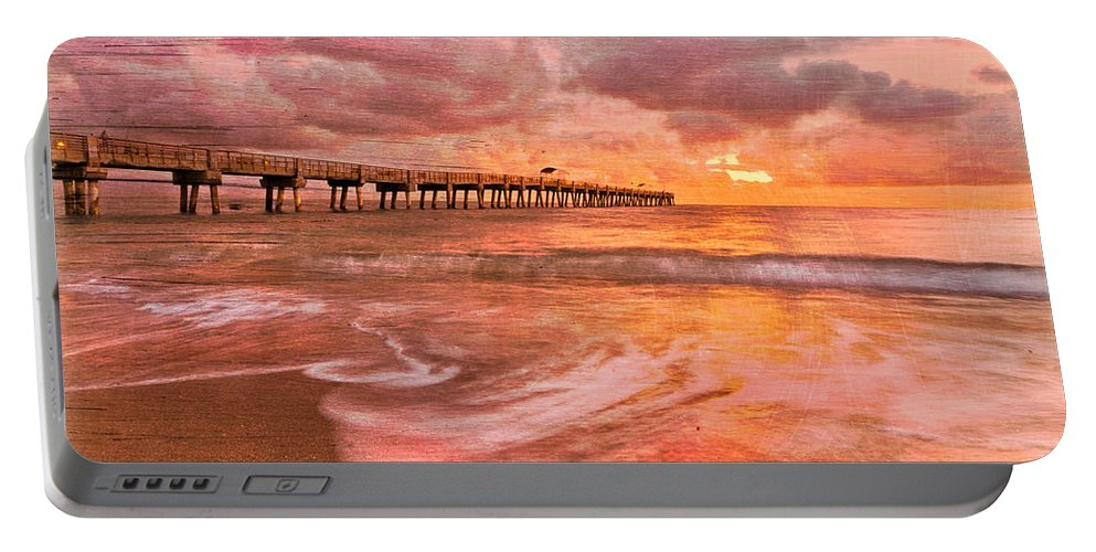 Clouds Portable Battery Charger featuring the photograph The Old Fishing Pier by Debra and Dave Vanderlaan