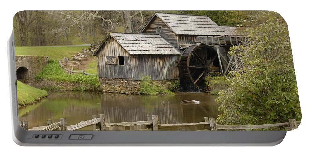 History Portable Battery Charger featuring the photograph The Old Grist Mill by Cindy Manero