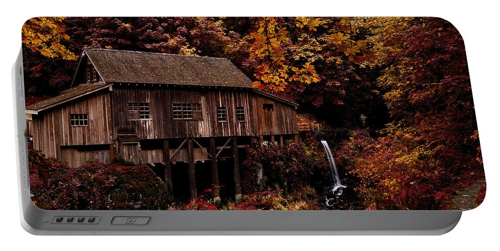 The Old Mill Stream Portable Battery Charger featuring the photograph The Old Mill Stream by Wes and Dotty Weber
