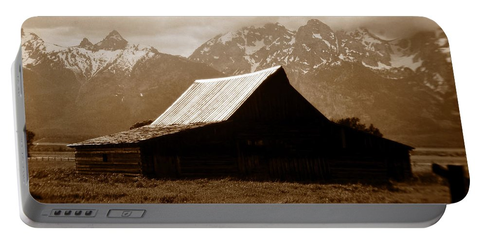 Fine Art Photography Portable Battery Charger featuring the photograph The Old Moulton Barn by David Lee Thompson
