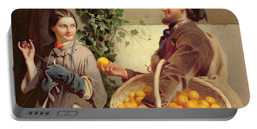 Basket; Selling; Persuading; Persuasive; Sewing; Stitching; Darning; Tempting; Genre; Door To Door Salesman; Victorian; Female; Male Portable Battery Charger featuring the painting The Orange Seller by William Edward Millner
