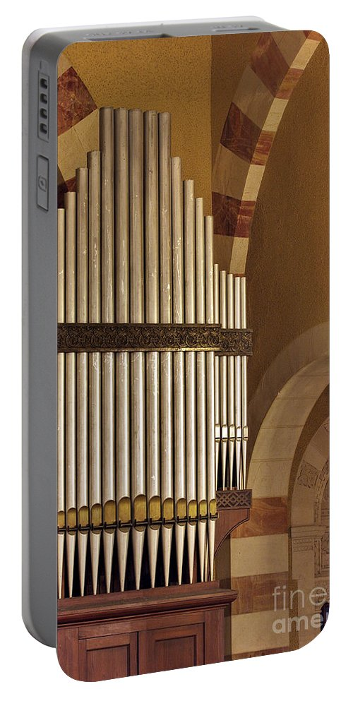Psi Portable Battery Charger featuring the photograph the Organ Augusta Victoria Jerusalem by Vladi Alon