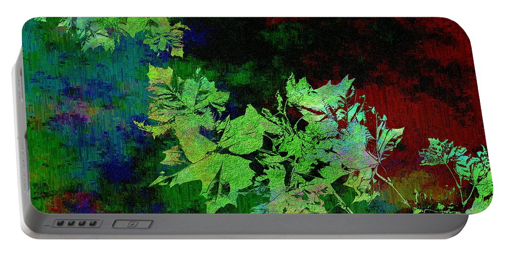 Abstract Portable Battery Charger featuring the digital art The Painted Arbor by Tim Allen