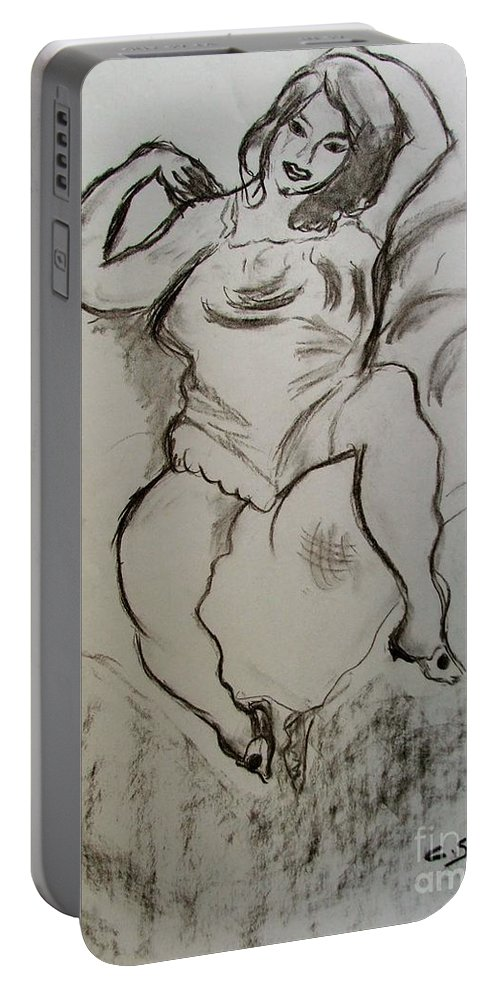 Woman Portable Battery Charger featuring the drawing The Pose by Caroline Street