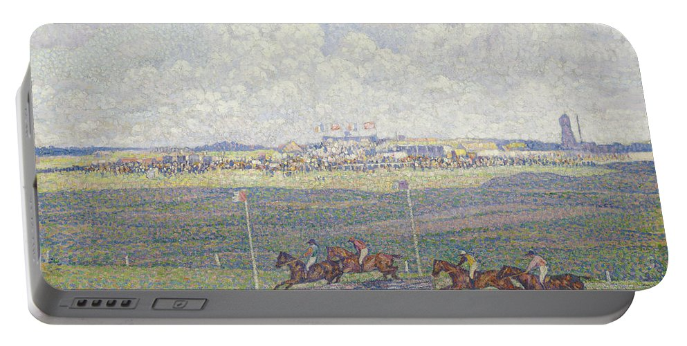 Le Champ De Courses A Boulogne-sur-mer Portable Battery Charger featuring the painting The Racecourse At Boulogne-sur-mer by Theo van Rysselberghe