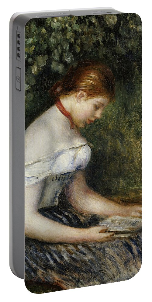 Impressionist; Impressionism; Female; Portrait; Book; Reading; Brown Hair Portable Battery Charger featuring the painting The Reader A Seated Young Girl by Pierre Auguste Renoir