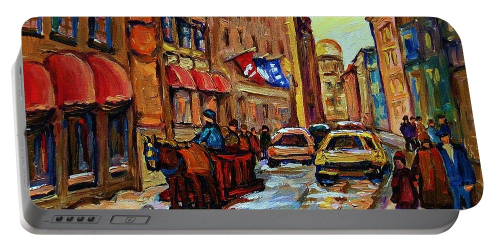 Horses Portable Battery Charger featuring the painting The Red Sled by Carole Spandau