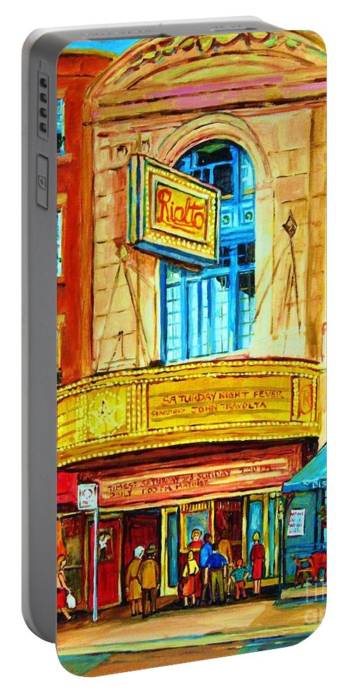 Street Scene Portable Battery Charger featuring the painting The Rialto Theatre by Carole Spandau