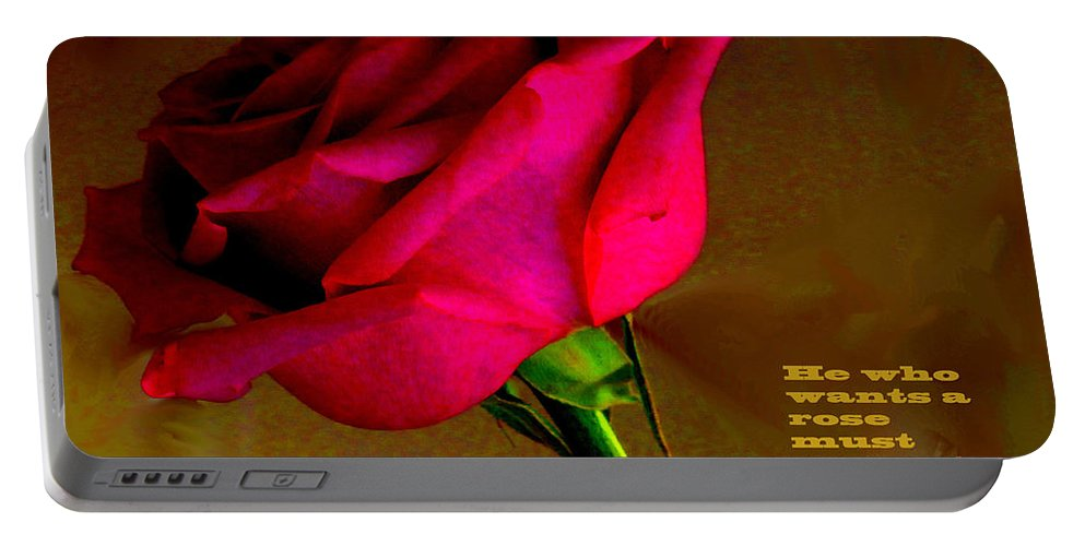 Rose Portable Battery Charger featuring the photograph The Rose And Thorn by Ian MacDonald
