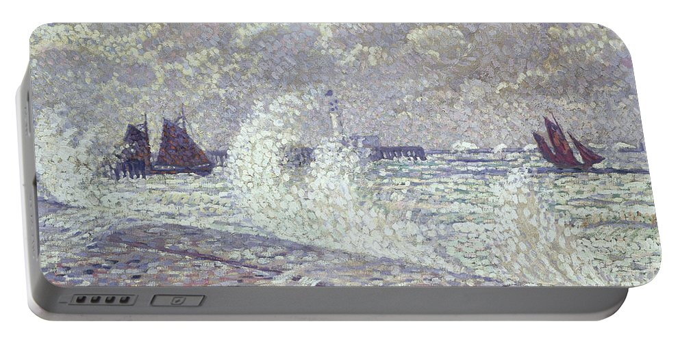 Sea Portable Battery Charger featuring the painting The Sea During Equinox Boulogne-sur-mer by Theo van Rysselberghe