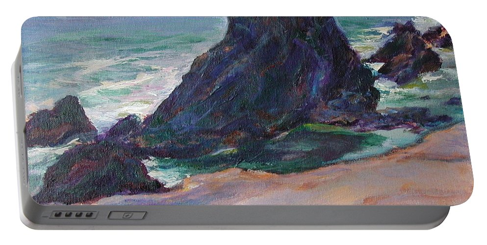 Seascape Portable Battery Charger featuring the painting The Seal Rock March by Quin Sweetman