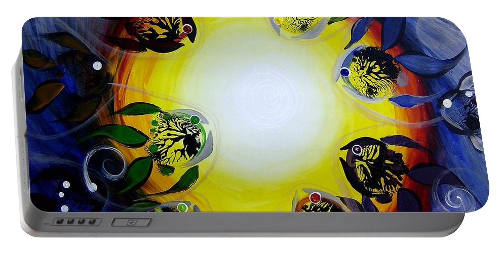 Fish Portable Battery Charger featuring the painting The Source Of All Color by J Vincent Scarpace