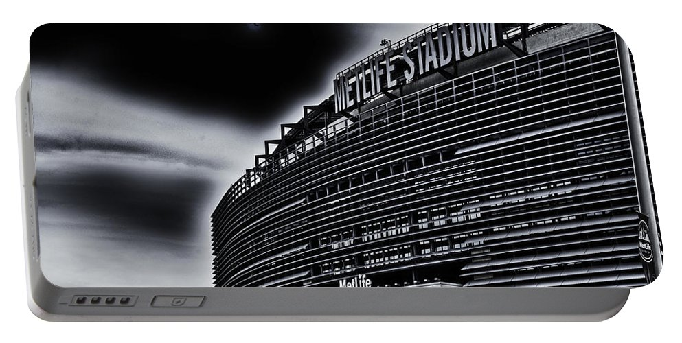 Metlife Portable Battery Charger featuring the photograph The Stadium by Ryan Crane