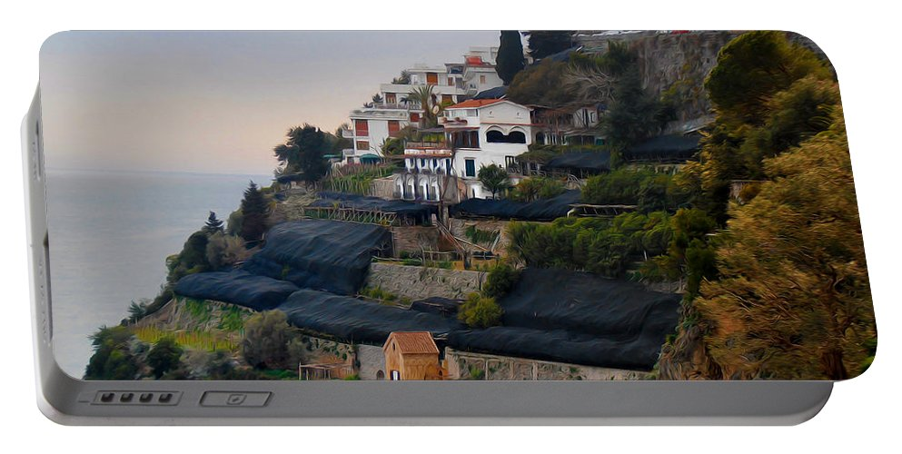 Amalfi By The Sea Portable Battery Charger featuring the photograph The Terraces Of Amalfi by Bill Cannon