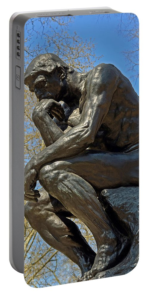 The Thinker By Rodin Portable Battery Charger featuring the photograph The Thinker By Rodin by Lisa Phillips
