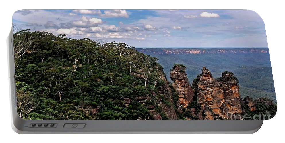 Photography Portable Battery Charger featuring the photograph The Three Sisters - The Blue Mountains by Kaye Menner