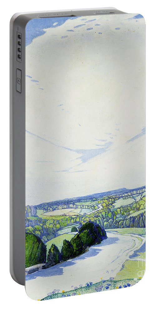 The Winding Road Portable Battery Charger featuring the painting The Winding Road by Edward Reginald Frampton