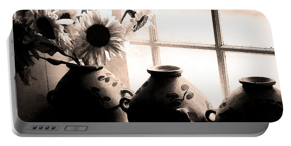 Window Portable Battery Charger featuring the photograph The Window Vases by Mike Nellums