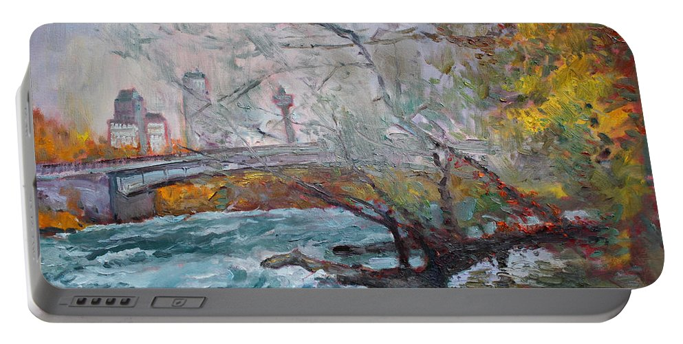 Niagara Falls River Portable Battery Charger featuring the painting ....then The Rain Started by Ylli Haruni