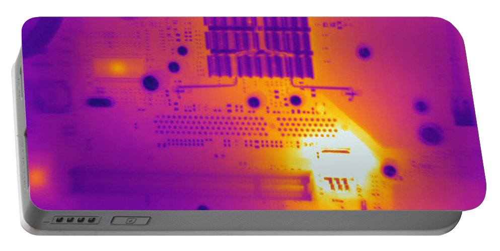 Thermogram Portable Battery Charger featuring the photograph Thermogram Of A Computer Board by Ted Kinsman