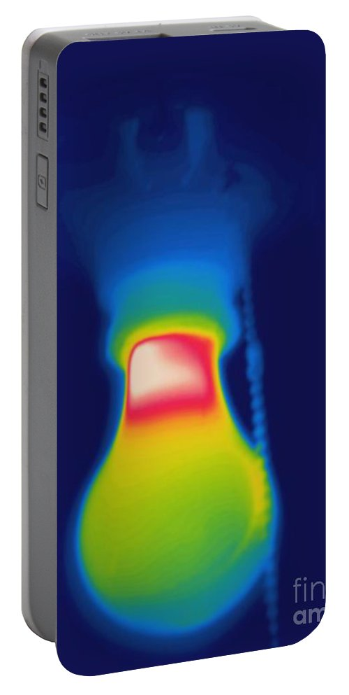 Thermogram Portable Battery Charger featuring the photograph Thermogram Of A Light Bulb by Ted Kinsman