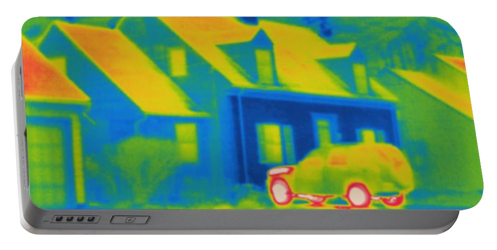 Thermogram Portable Battery Charger featuring the photograph Thermogram Of Car In Front Of A House by Ted Kinsman