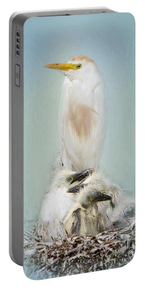 Cattle Egret Portable Battery Charger featuring the photograph They Have My Nose by Betty LaRue
