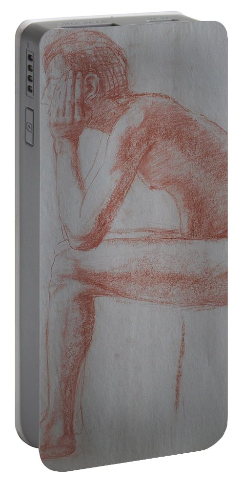 Sitting Nude Portable Battery Charger featuring the drawing Thinking by Jennifer Christenson