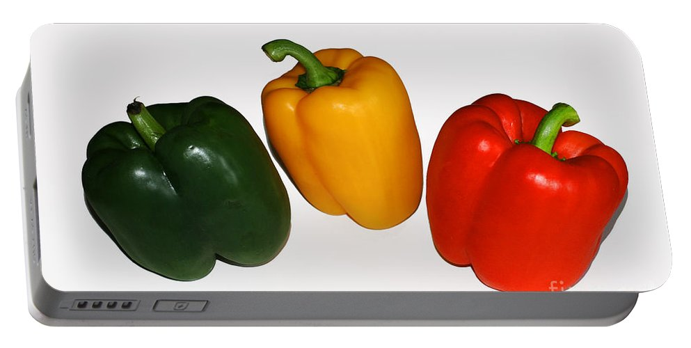 Pepper Portable Battery Charger featuring the photograph Three Bell Peppers by Barbara McMahon