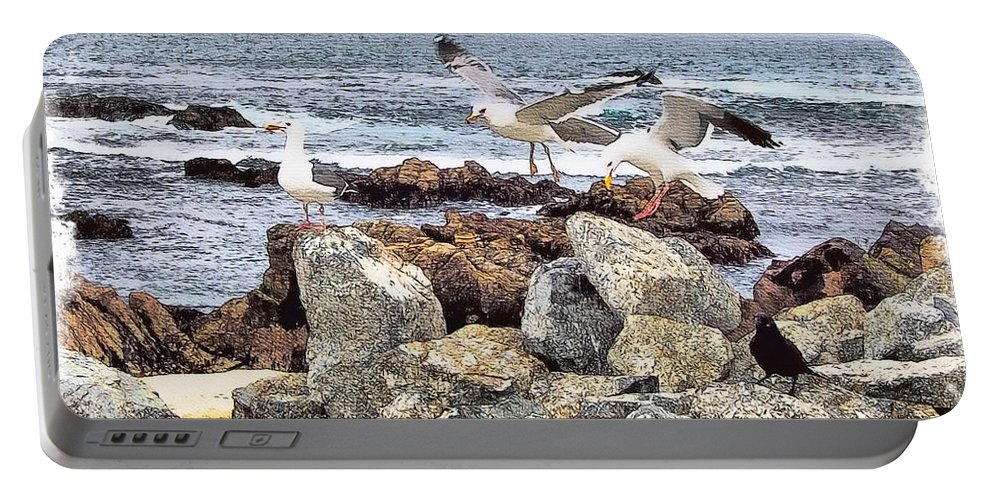 Seagulls Portable Battery Charger featuring the painting Threes Company by Tom Schmidt