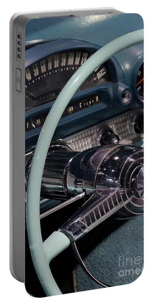 Thunderbird Portable Battery Charger featuring the photograph Thunderbird Steering Wheel by Jim And Emily Bush