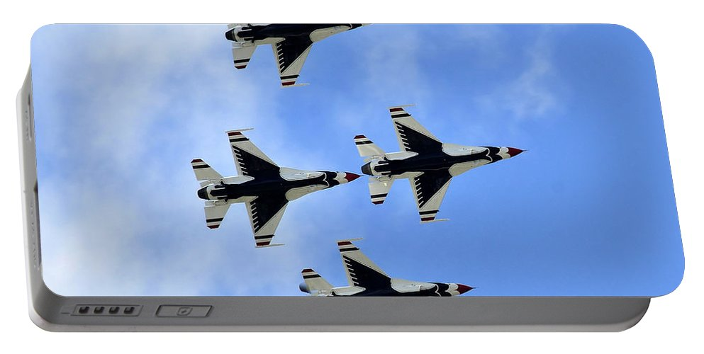 Fine Art Photography Portable Battery Charger featuring the photograph Thunderbirds In Flight by David Lee Thompson
