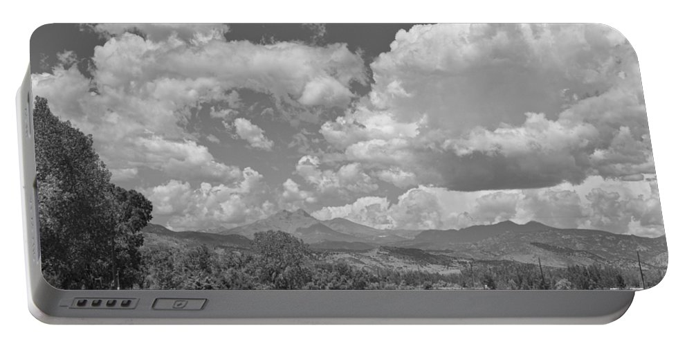 Clouds Portable Battery Charger featuring the photograph Thunderstorm Clouds Boiling Over The Colorado Rocky Mountains Bw by James BO Insogna